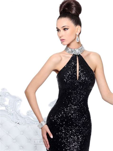 Crystal Choker Neckline Open Back Long Prom Dress with Keyhole Bodice   Formal Dresses