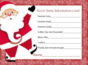secret santa gift exchange template secret santa information sheet by a space to create tpt