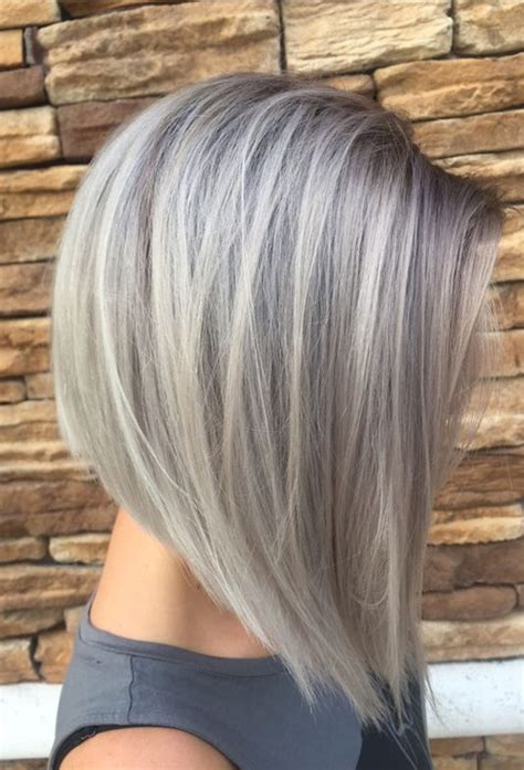 short hair cut and ash color streaks look grey gray silver hair colors for bob short hairstyles 2018