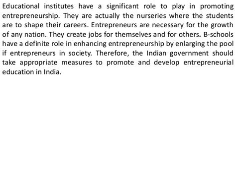 Distance Mba In Entrepreneurship In India by Of Education In Entrepreneurship Development In India