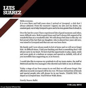 thank you letter to team captain luis suarez pens letter to liverpool thanking wonderful