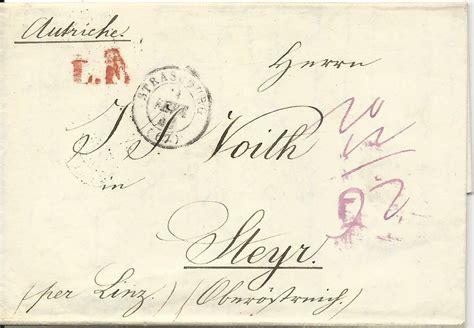 brief frankreich frankreich 1846 porto brief v strasbourg quot per linz quot n steyr ober 214 sterreich ebay