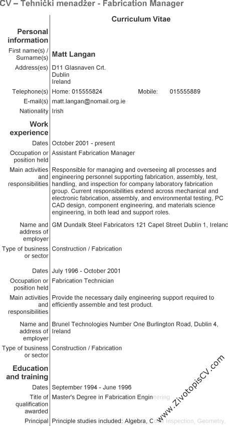 tehnički menadžer životopis cv primjer info
