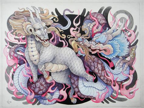 a japanese kirin and dragon interact in this bold tattoo