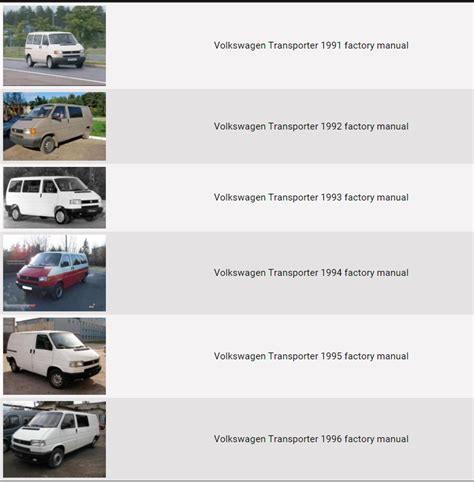 service manual electric and cars manual 1995 volkswagen eurovan on board diagnostic system volkswagen transporter 1991 1996 repair manual factory manual