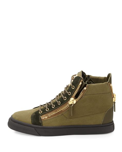 sneakers mens giuseppe zanotti canvas high top sneaker in green for
