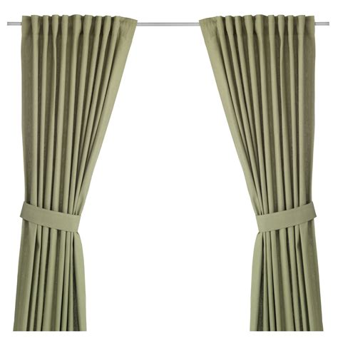green curtains ikea ingert curtains with tie backs 1 pair green 145x250 cm ikea