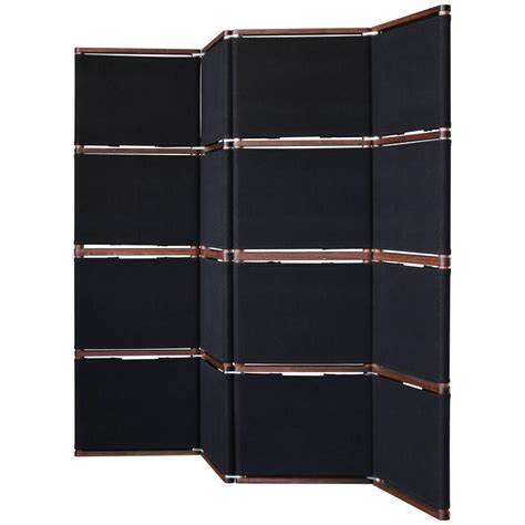 lambert folding screen or room divider in black canvas and