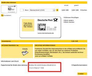 Porto Online Drucken Brief by Porto Selber Drucken Tracking Support
