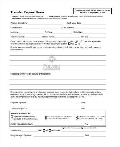 transfer request form sle transfer request forms 9 free documents in pdf