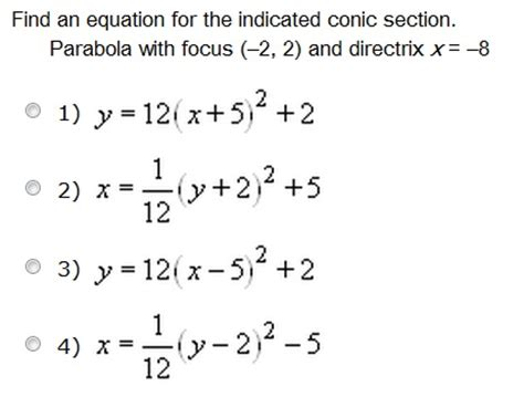find section 8 find an equation for the indicated conic section