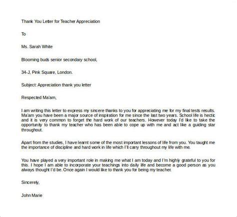 sample letters appreciation