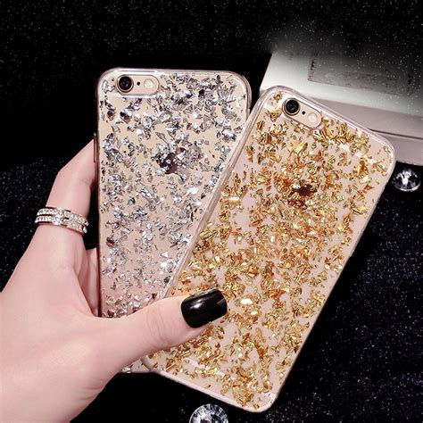 Iphone 6 Plus Luxury Bling Gold Casing Cover Bumper new gold bling paillette sequin skin clear luxury soft tpu for iphone 6 6s plus 5 5s se