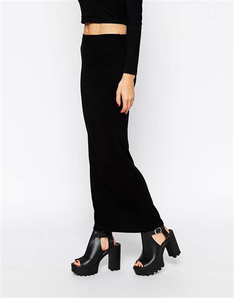 asos maxi pencil skirt in rib in black lyst