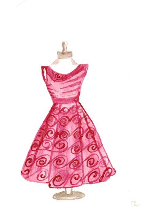 pink drawing vintage dress drawing wishlist art