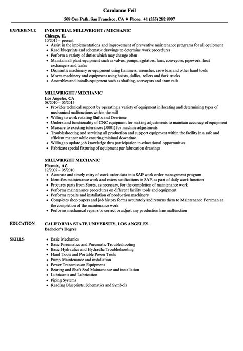 free sle resume millwright attractive industrial mechanic millwright resume photo resume ideas namanasa