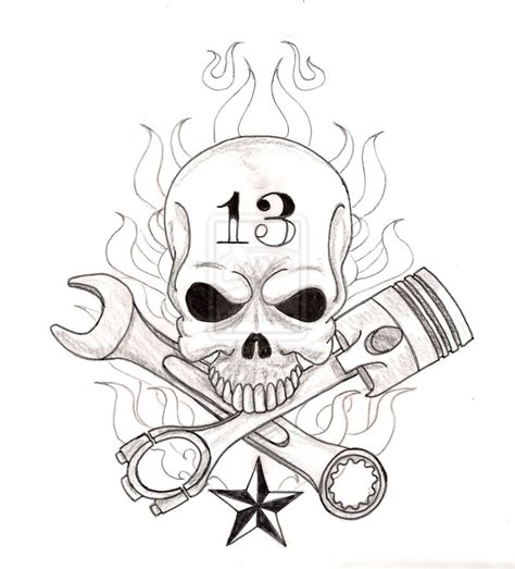 crossed piston tattoo skull with crossed wrench and piston by metacharis