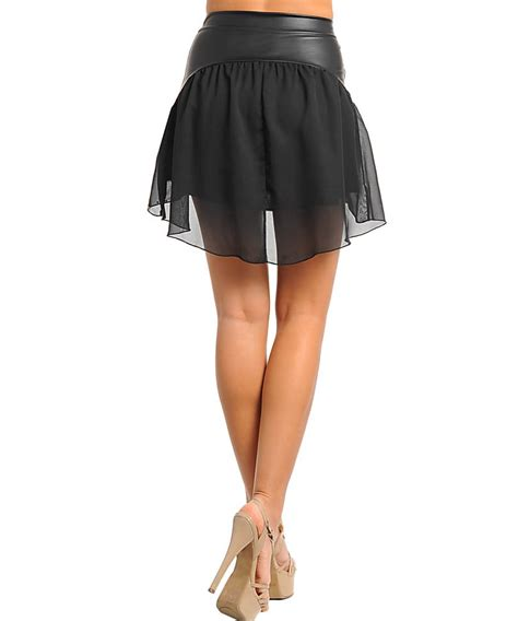 chiffon faux leather high low black skirt chaussure