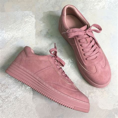 Genuine Leather Lace Up Sneakers teahoo genuine leather sneakers fashion pink shoes
