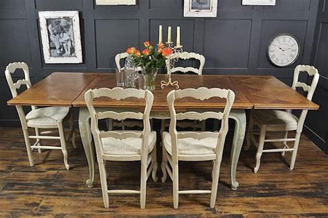 shabby chic french oak dining table with 6 chairs in