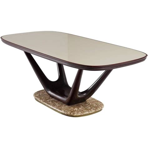 italian dining table in marble glass and mahogany for sale