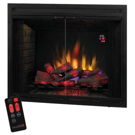 glass door fireplace insert classicflame 39eb500grs 39 quot traditional built in electric