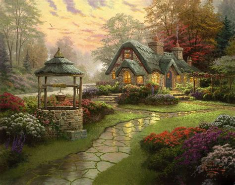 thomas kinkade make a wish cottage 50 off artexpress ws