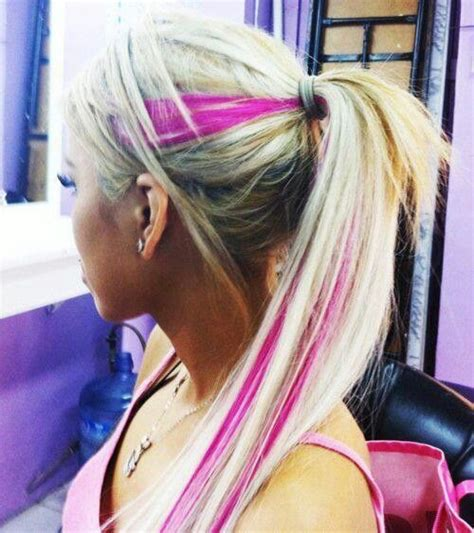 pink streaks in hair blonde with pink streaks hair other colors pinterest