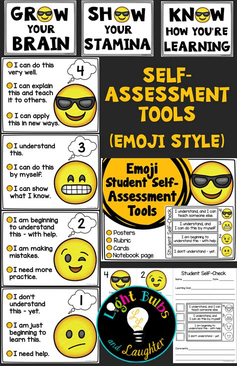 themes educational assessment emoji self assessment tools posters cards student