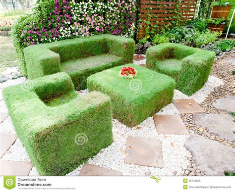 Garden Decoration Grass by Grass Bench Royalty Free Stock Photo Image 35749855