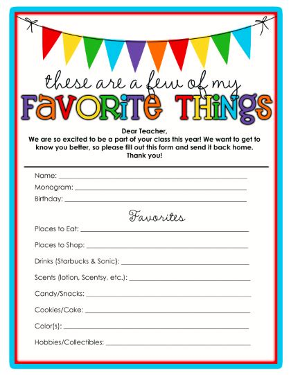 Favorite Things List Template sweet s favorite things template