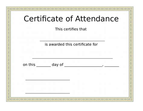 attendance certificate template free search results for free printable certificate of