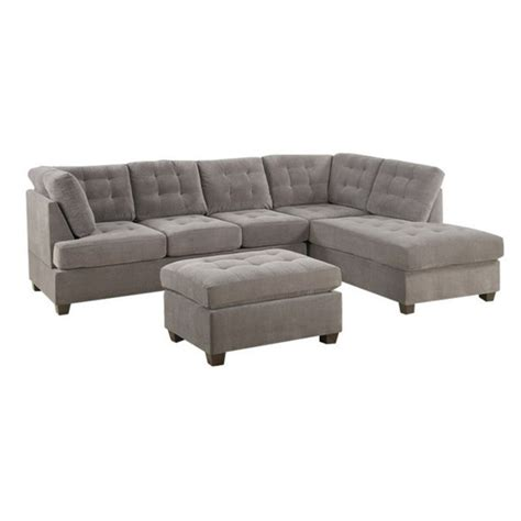 suede sectional sofa poundex bobkona fairfax waffle suede sectional sofa in charcoal f7139
