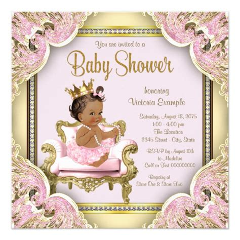 african american princess baby shower invitation zazzle com