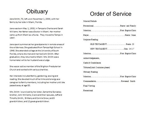 obituary program template new one obituaries