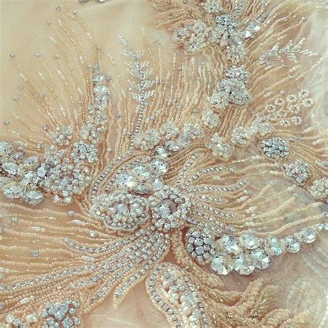 beaded tulle fabric tambour beading on a haute couture crystals