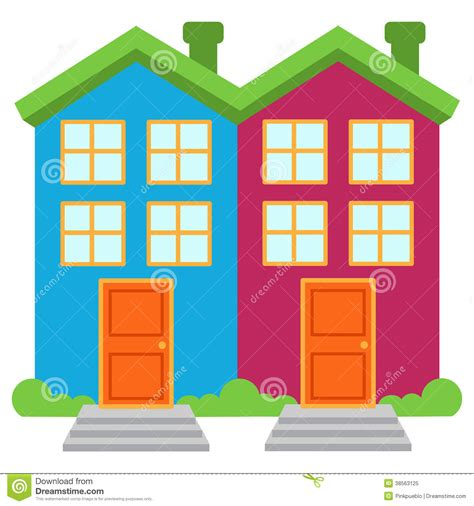 2 Story Cabin Plans by Vector Image Of Two Brightly Colored Semi Detached Houses