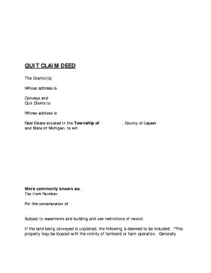 quit claim deed form michigan fill  printable