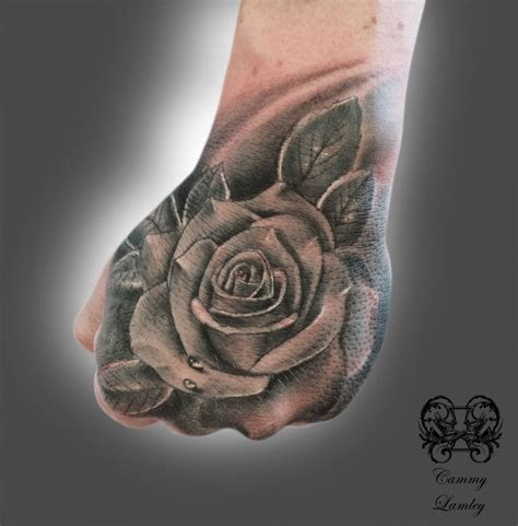 tattoo full hand black and gray hand rose jpg