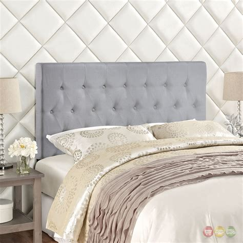 gray tufted headboard king clique casual button tufted upholstered king headboard