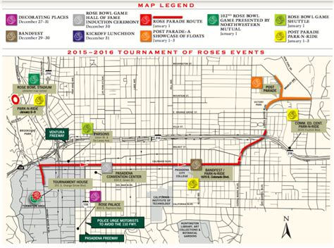 route of new year parade 2016 bowl parking map my