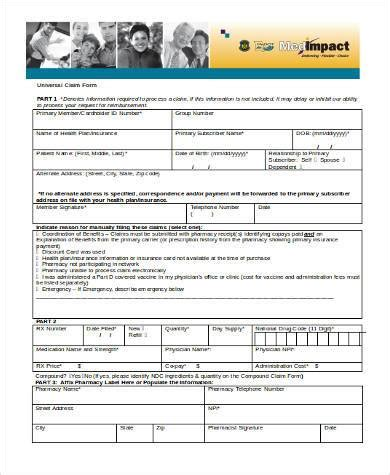 claim form in word sle universal claim forms 9 free documents in word pdf