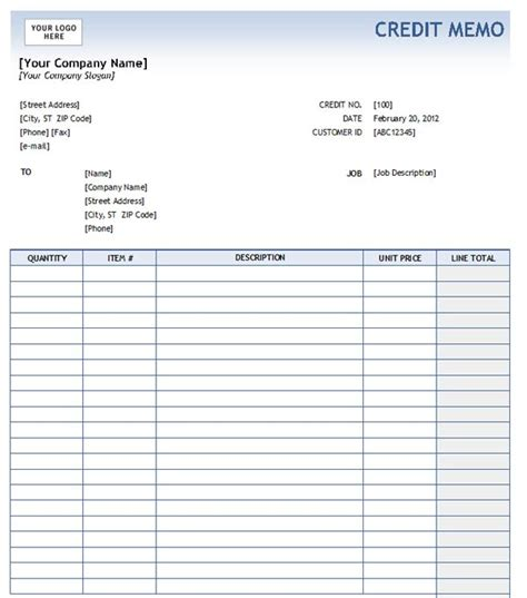 Credit Note Format Word Free Credit Memo Form
