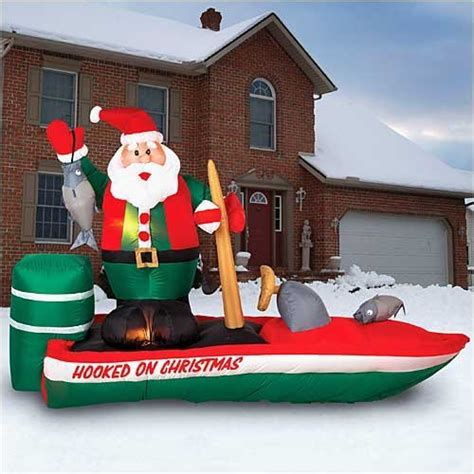 inflatable santa in boat lawn decorations decorations yard