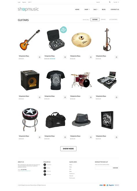 shopify themes music responsive shopify theme shopmusic by tvlgiao themeforest