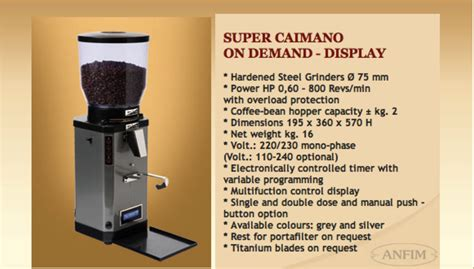 Grinder Caimano On Demand coffee channel reviews and how tos anfim caimano on demand display timer