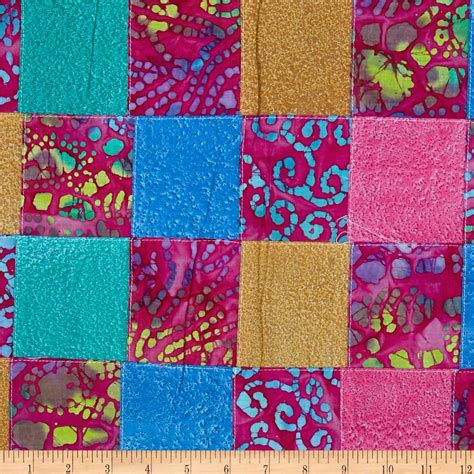 Patchwork Design Fabric - indian batik pre sewn patchwork pink discount designer