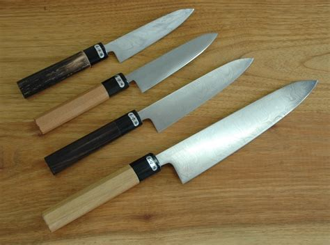 custom japanese kitchen knives hunting knives damascus and kurouchi hunting knives