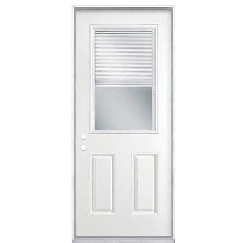 half light door masonite 32 in x 80 in premium half lite mini blind white right inswing primed steel