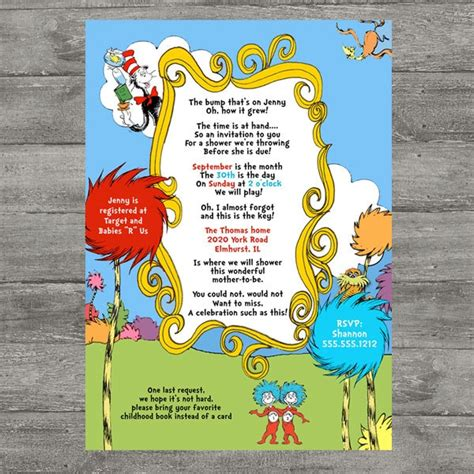 Dr Seuss Baby Shower Invitations by I Think This Was It Dr Seuss Baby Shower Invitations